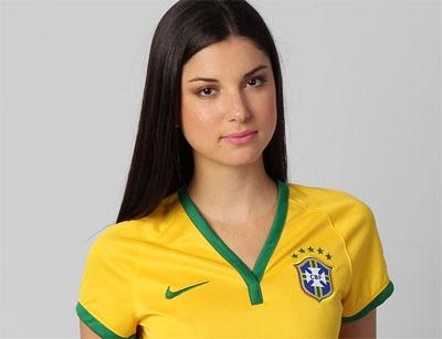 CAMISA FEMININA NIKE SELEÇÃO BRASIL I 2014 S/Nº - TORCEDOR