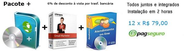 Sistema de compra coletiva Vipcom+, sistema de atendimento online e sistema de email marketing