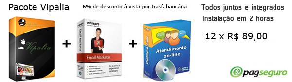 Sistema de compra coletiva Vipalia, sistema de atendimento online e sistema de email marketing
