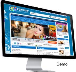 Clique para ver a demonstração do sistema de compra coletiva Vipclass.  Você também pode anunciar ofertas de outros sites. São 4 modalidades de Ofertas, ou seja, é um sistema 4 em 1. Destaque para processo de compra rápida. Instalação em 3 horas.