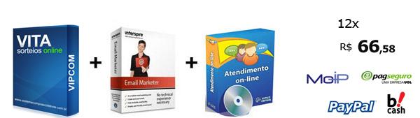 Vita-Sistema de sorteios online grátis + sistema de atendimento online e sistema de email marketing